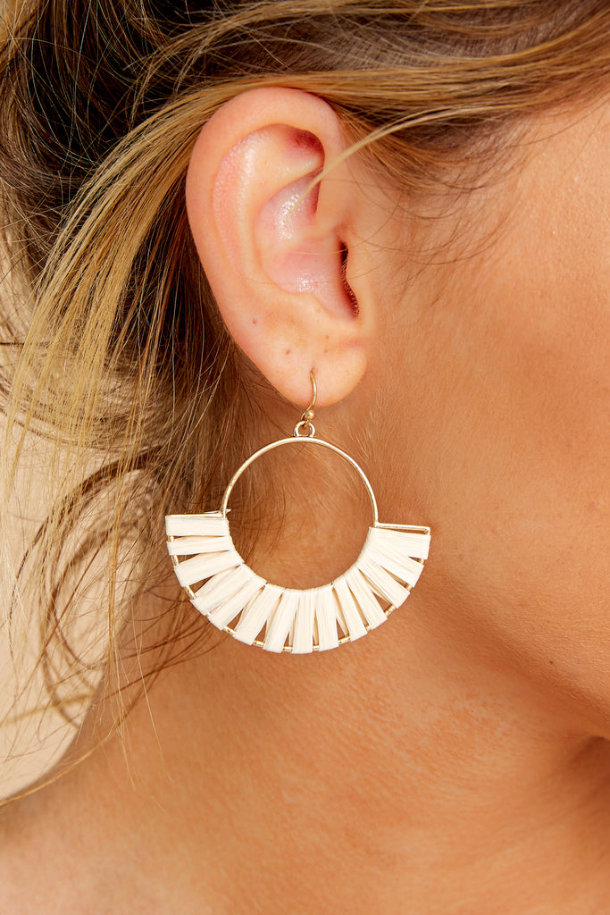 4 Maybe Possibly Ivory Hoop Earrings at reddressboutique.com
