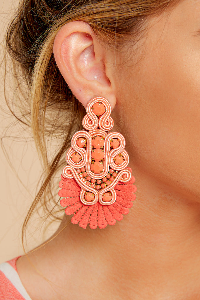 1 Whenever Wherever Coral Beaded Earrings at reddress.com