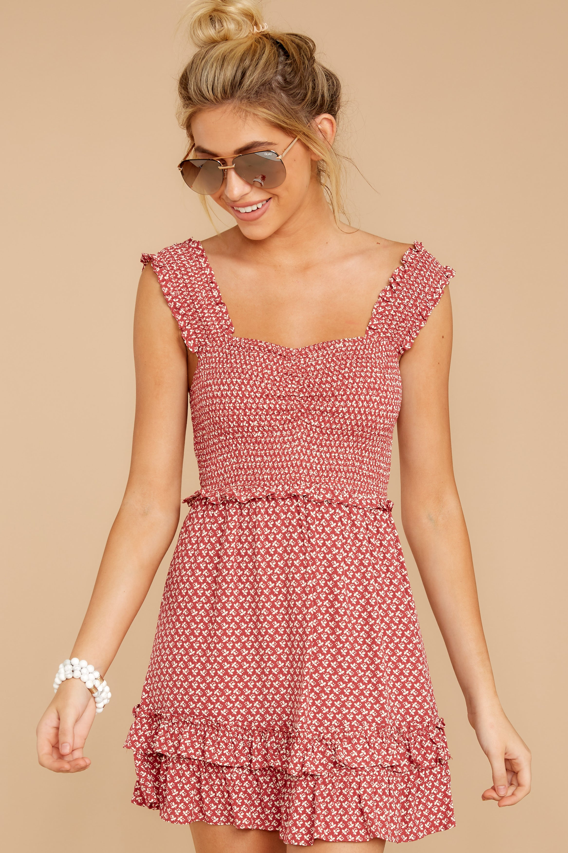 5 Sweetness With Sass Red Print Dress at reddressboutique.com
