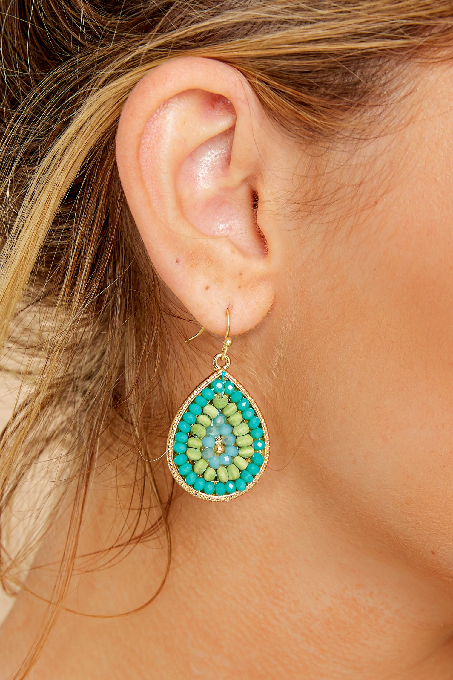 1 Drops Of Style Turquoise Earrings at reddressboutique.com