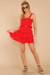 1 Frilled With Life Red Two Piece Set at reddressboutique.com