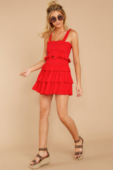 4 Frilled With Life Red Two Piece Set at reddressboutique.com