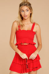 7 Frilled With Life Red Two Piece Set at reddressboutique.com
