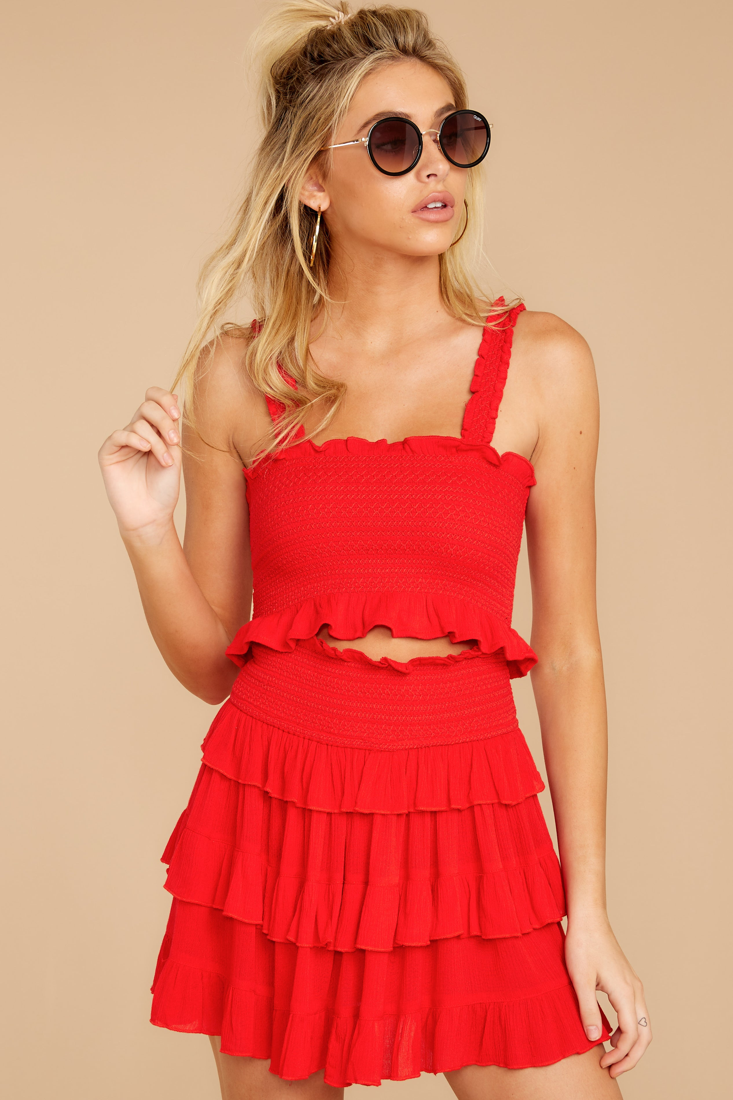 9 Frilled With Life Red Two Piece Set at reddressboutique.com