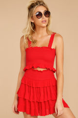 10 Frilled With Life Red Two Piece Set at reddressboutique.com