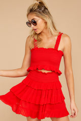 11 Frilled With Life Red Two Piece Set at reddressboutique.com