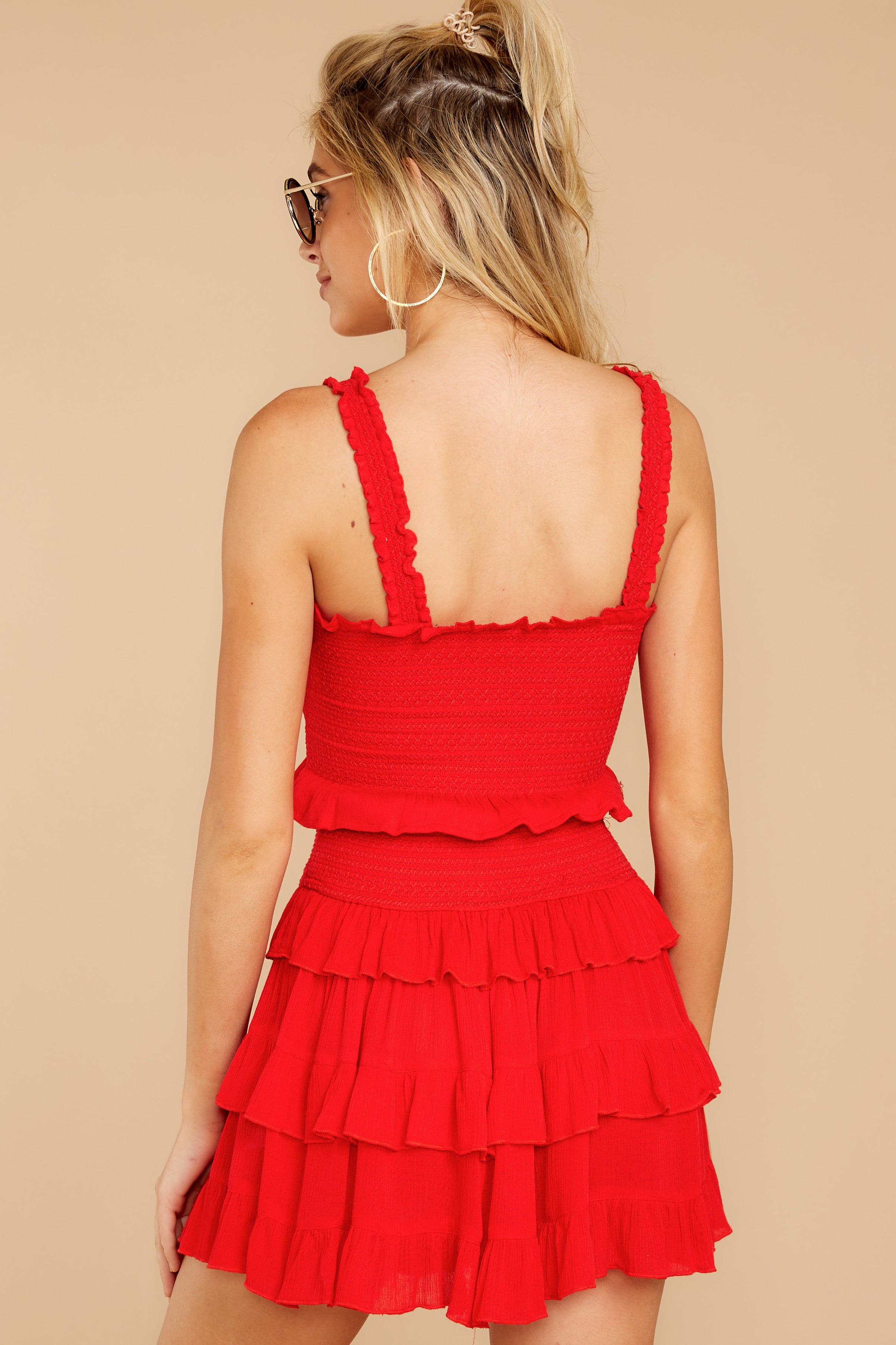 12 Frilled With Life Red Two Piece Set at reddressboutique.com