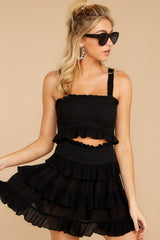 1 Frilled With Life Black Two Piece Set at reddress.com
