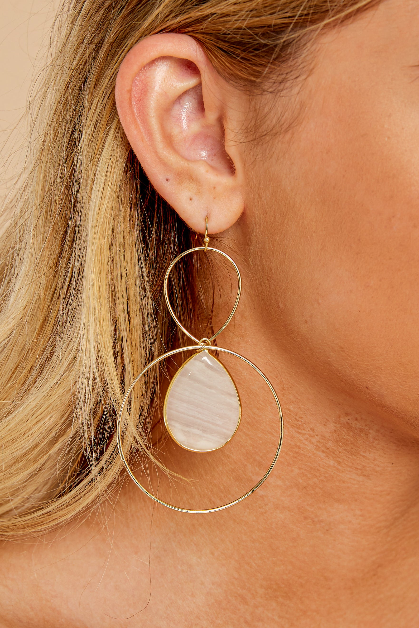 1 Trifecta Of Perfection Ivory Blush Earrings at reddressboutique.com