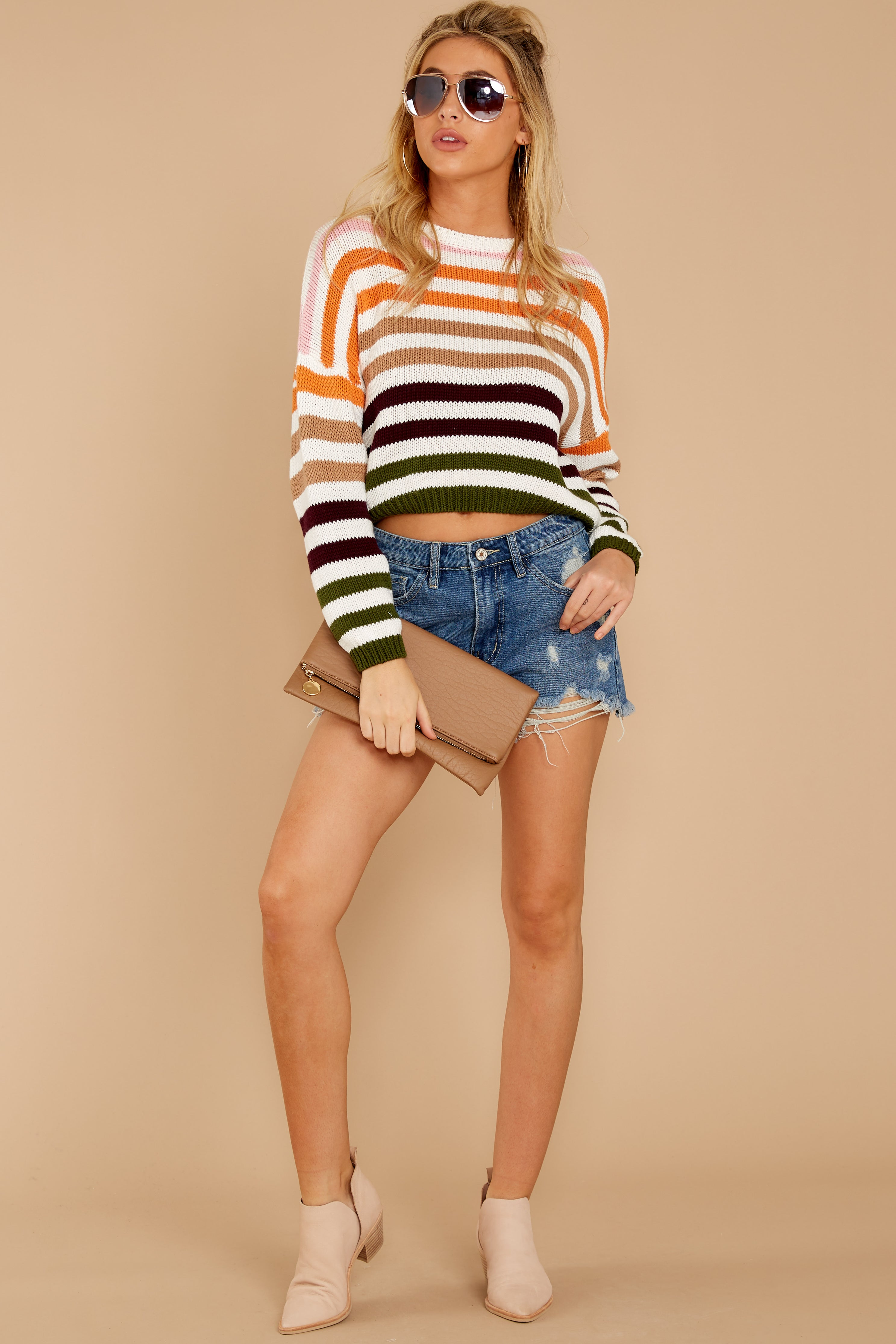 2 Go With You Orange Multi Stripe Cropped Sweater at reddressboutique.com