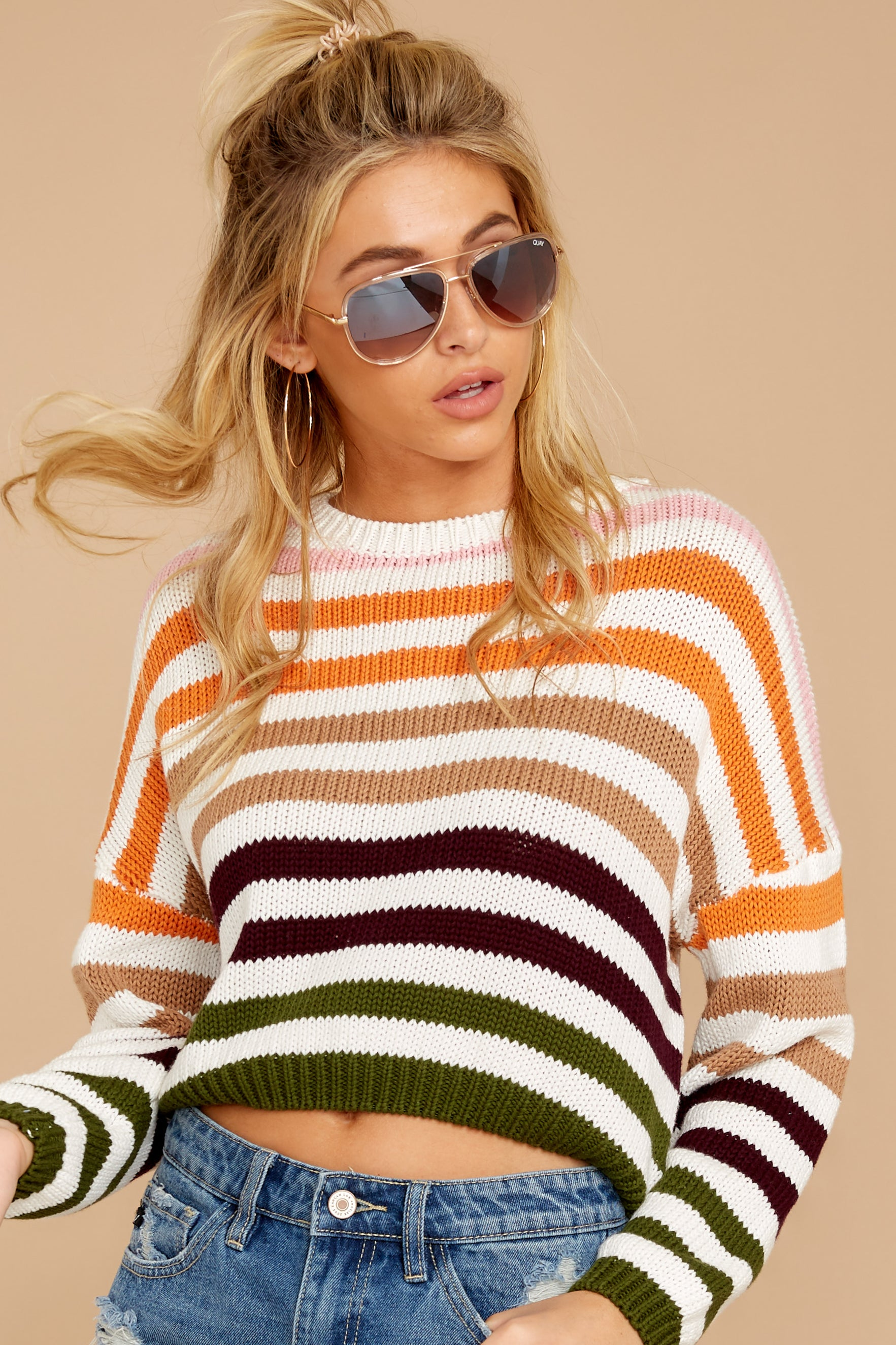 3 Go With You Orange Multi Stripe Cropped Sweater at reddressboutique.com
