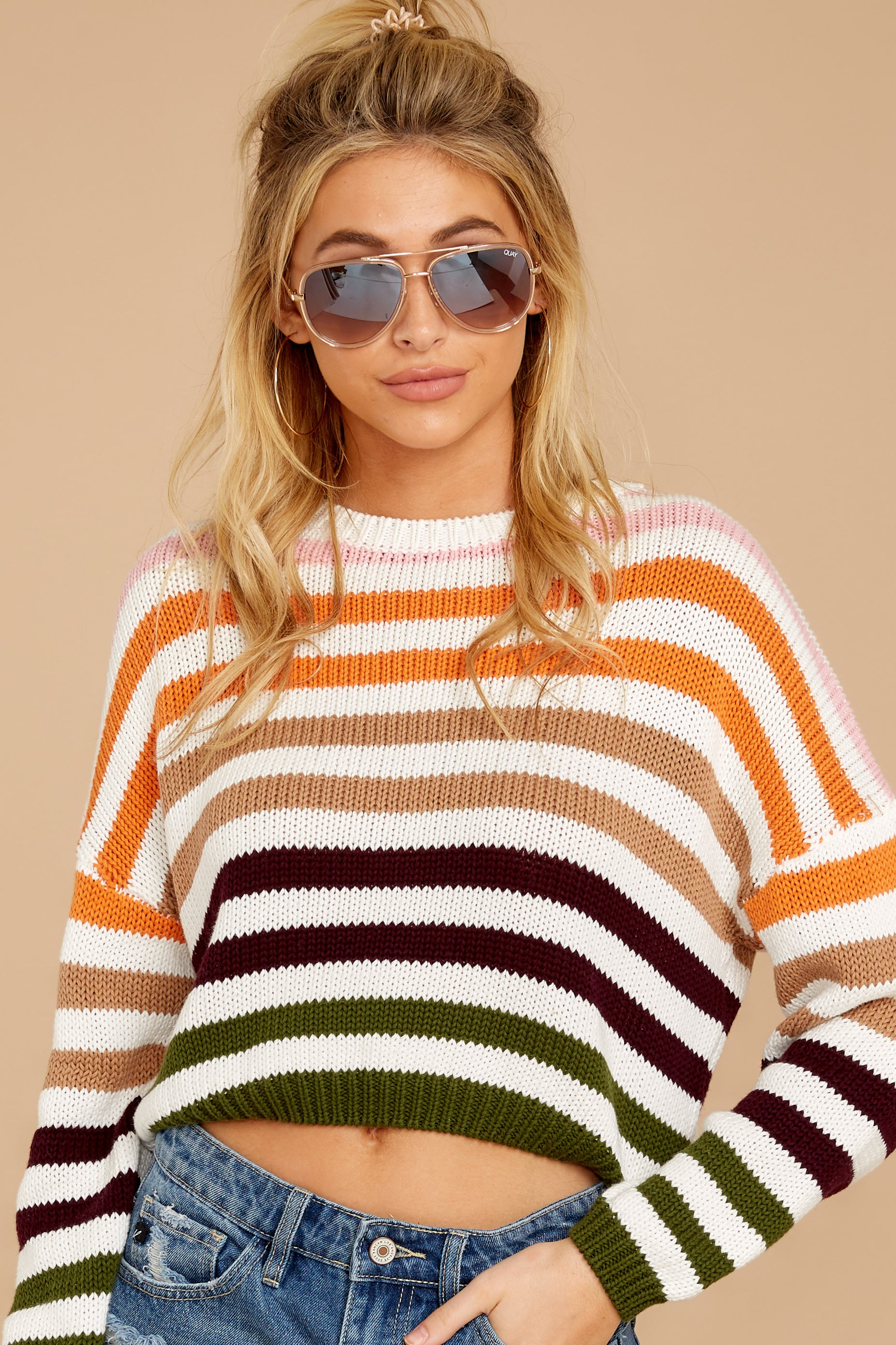 4 Go With You Orange Multi Stripe Cropped Sweater at reddressboutique.com