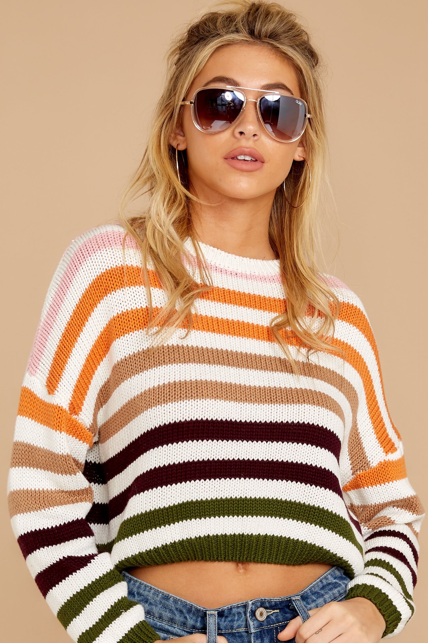 5 Go With You Orange Multi Stripe Cropped Sweater at reddressboutique.com