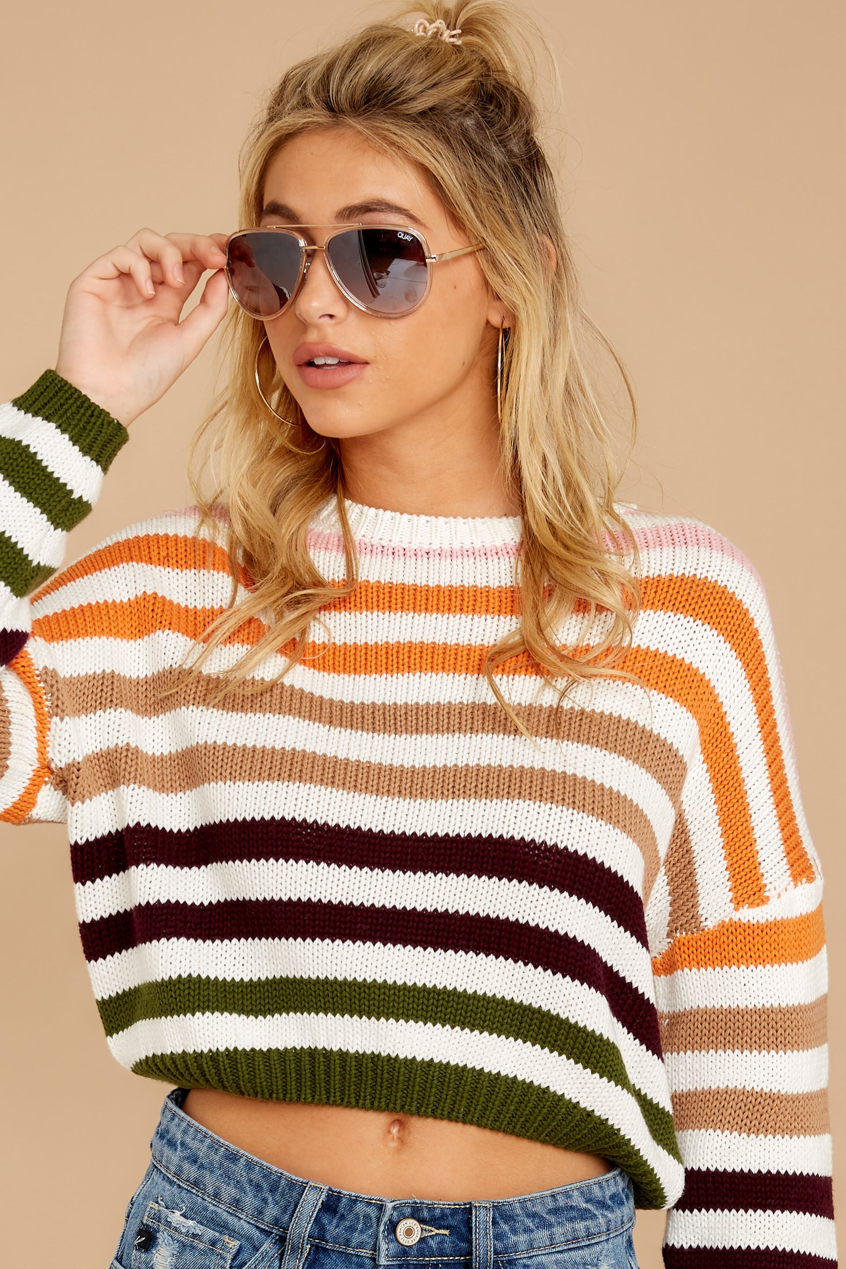 6 Go With You Orange Multi Stripe Cropped Sweater at reddressboutique.com