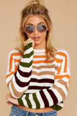 7 Go With You Orange Multi Stripe Cropped Sweater at reddressboutique.com