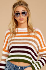 8 Go With You Orange Multi Stripe Cropped Sweater at reddressboutique.com