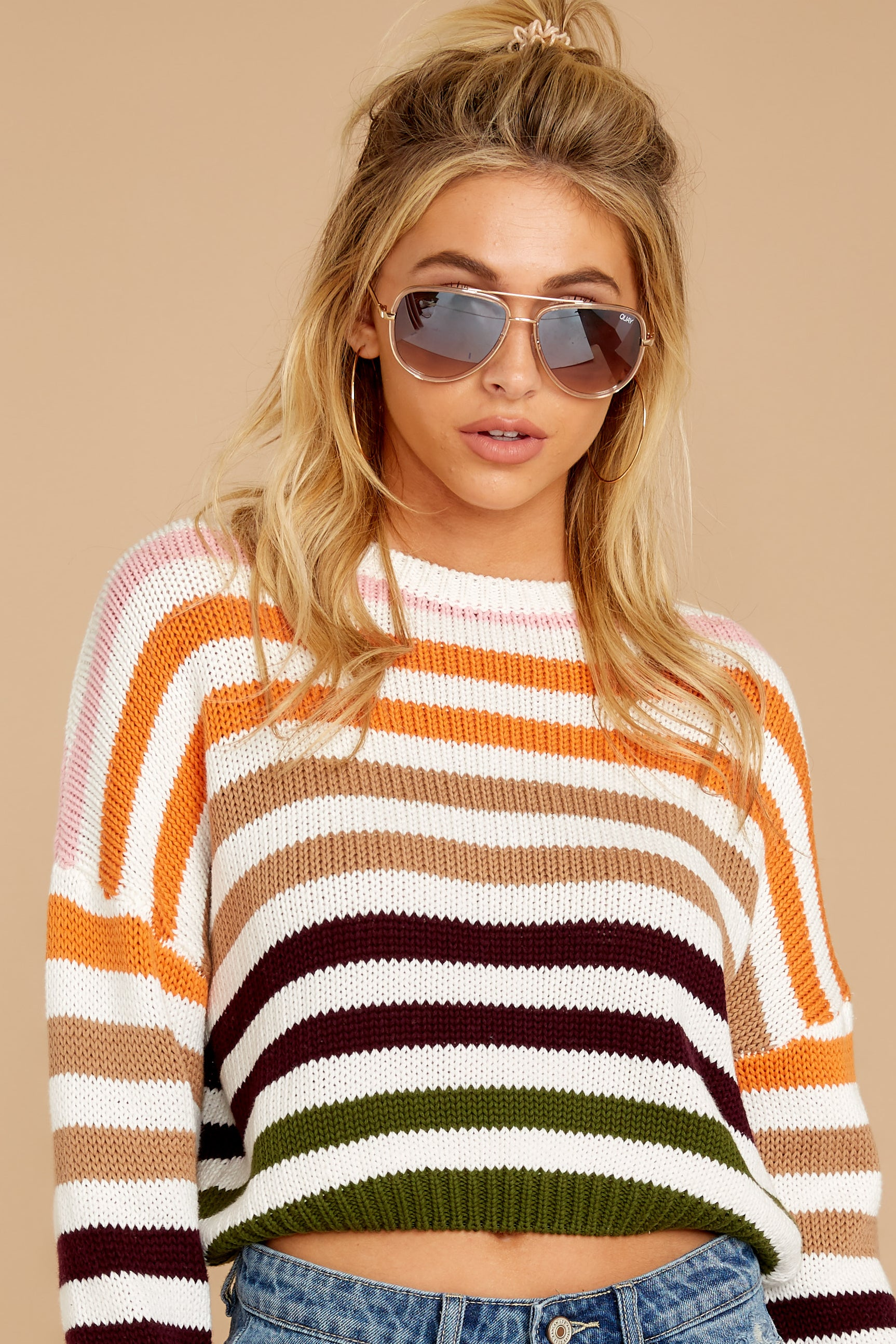 9 Go With You Orange Multi Stripe Cropped Sweater at reddressboutique.com