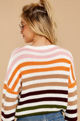 10 Go With You Orange Multi Stripe Cropped Sweater at reddressboutique.com