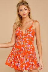 6 In The Sunshine Bright Orange Floral Print Romper at reddressboutique.com