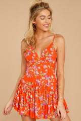 8 In The Sunshine Bright Orange Floral Print Romper at reddressboutique.com