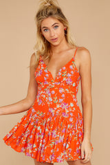10 In The Sunshine Bright Orange Floral Print Romper at reddressboutique.com