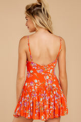 In The Sunshine Bright Orange Floral Print Romper