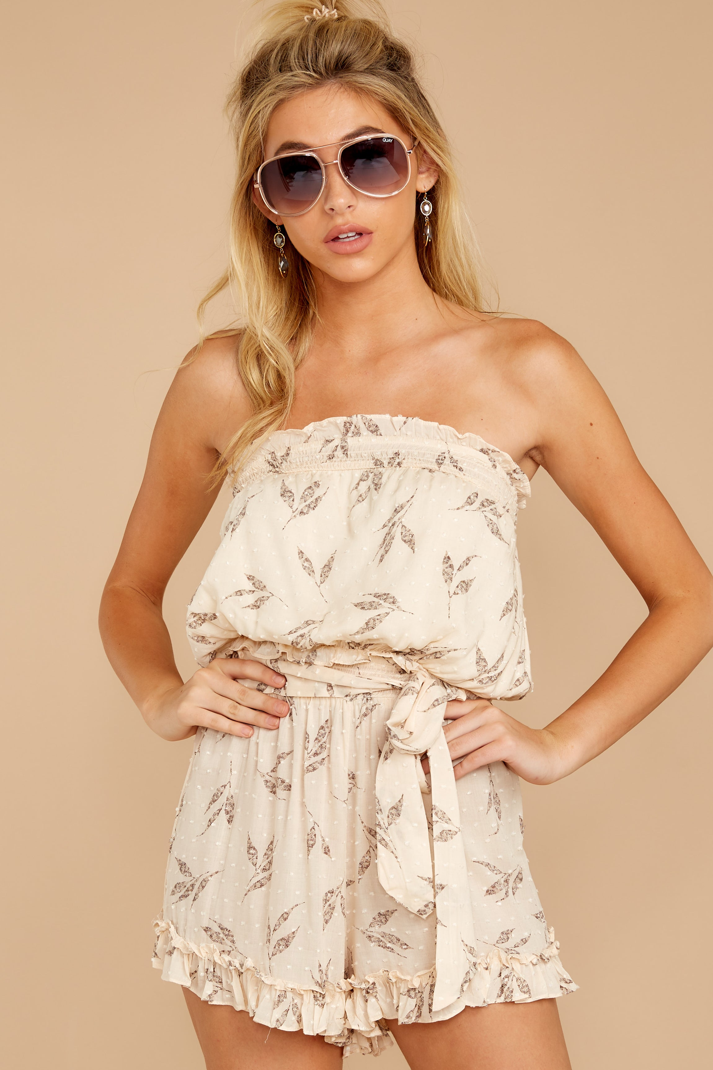 1 Out For A Stroll Ivory Print Romper at reddressboutique.com