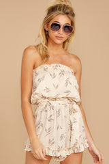 6 Out For A Stroll Ivory Print Romper at reddressboutique.com