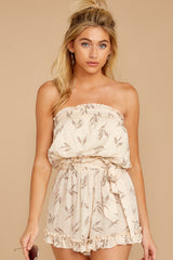 7 Out For A Stroll Ivory Print Romper at reddressboutique.com