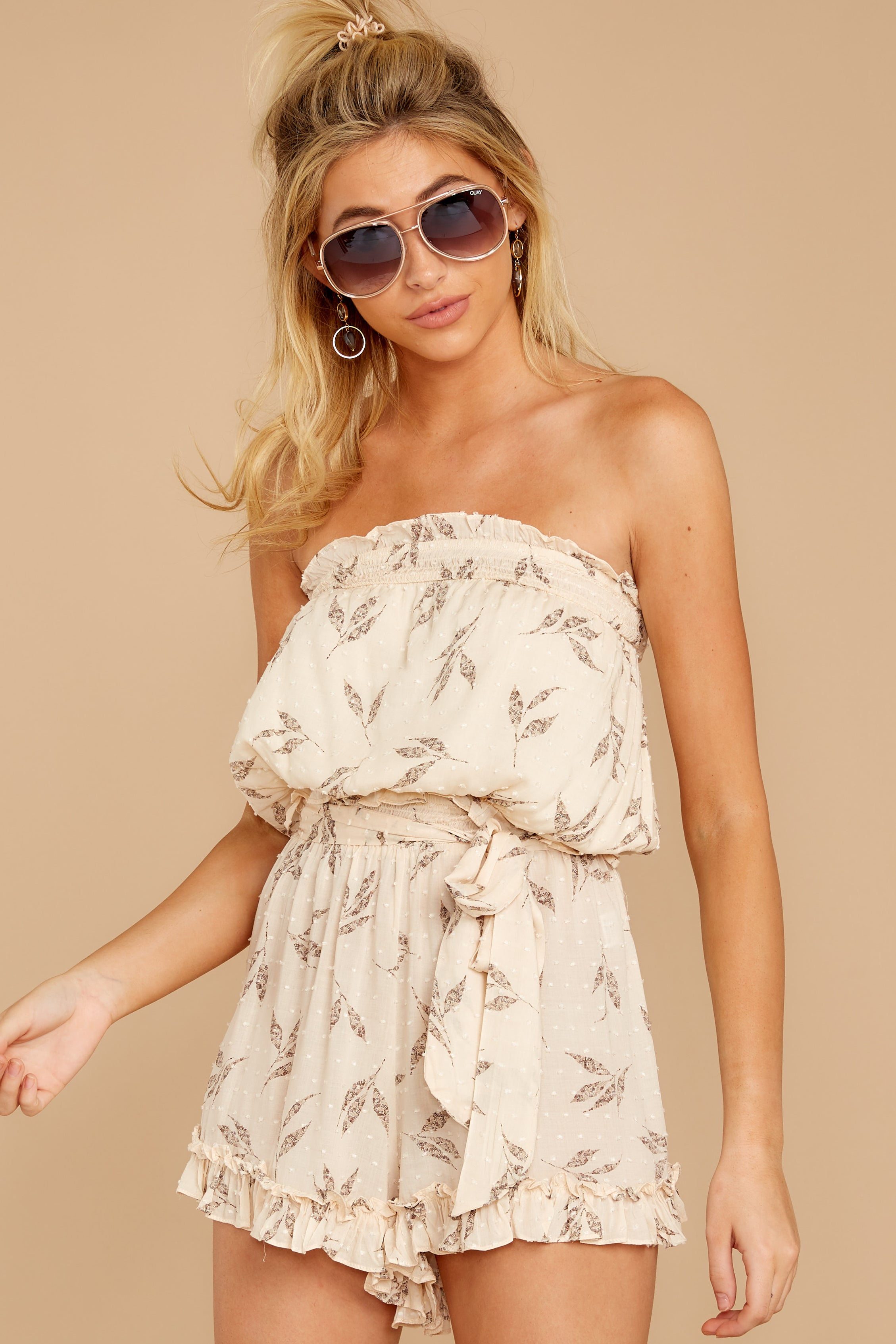 8 Out For A Stroll Ivory Print Romper at reddressboutique.com