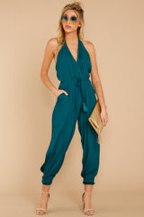 1 Close Enough Dark Teal Jumpsuit at reddressboutique.com