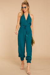 3 Close Enough Dark Teal Jumpsuit at reddressboutique.com