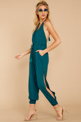 6 Close Enough Dark Teal Jumpsuit at reddressboutique.com