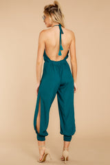 7 Close Enough Dark Teal Jumpsuit at reddressboutique.com