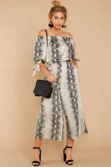 2 Bolder Is Better Snake Print Midi Jumpsuit at reddressboutique.com