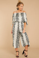 5 Bolder Is Better Snake Print Midi Jumpsuit at reddressboutique.com