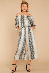 6 Bolder Is Better Snake Print Midi Jumpsuit at reddressboutique.com