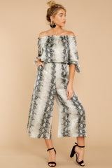 7 Bolder Is Better Snake Print Midi Jumpsuit at reddressboutique.com