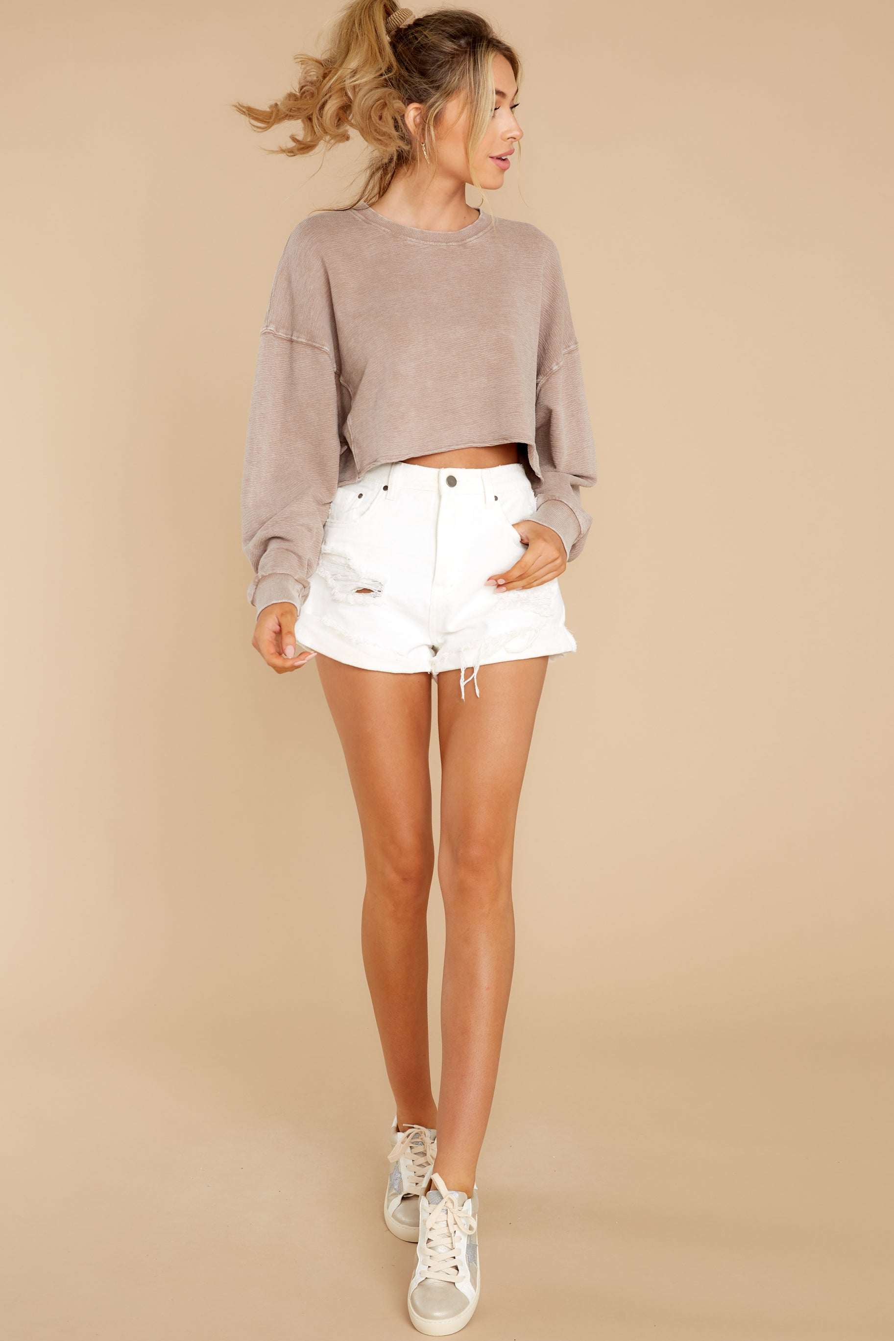 4  Anywhere With You Latte Crop Sweatshirt at reddress.com