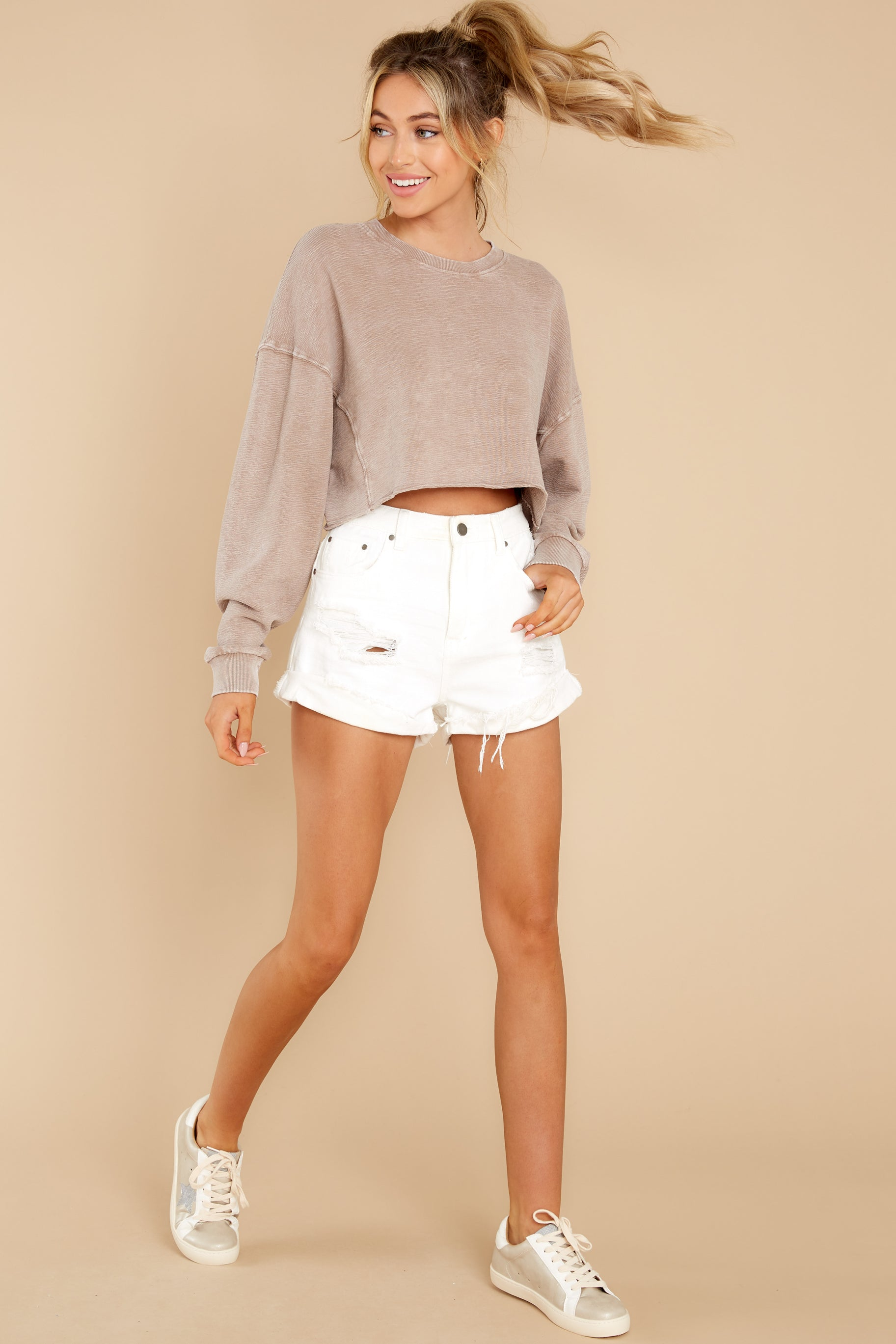 2  Anywhere With You Latte Crop Sweatshirt at reddress.com