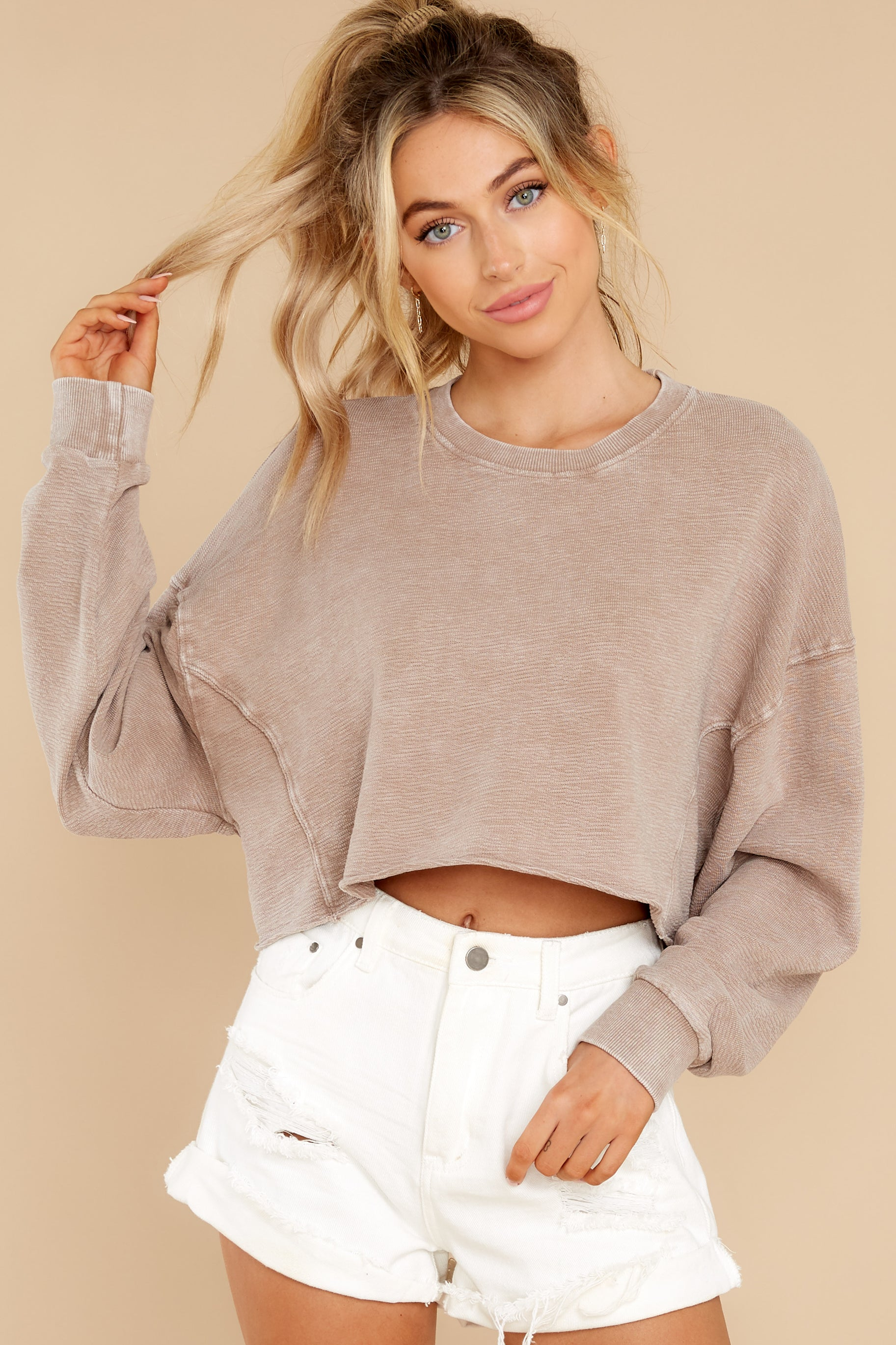 1 Anywhere With You Latte Crop Sweatshirt at reddress.com