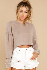 5 Anywhere With You Latte Crop Sweatshirt at reddress.com