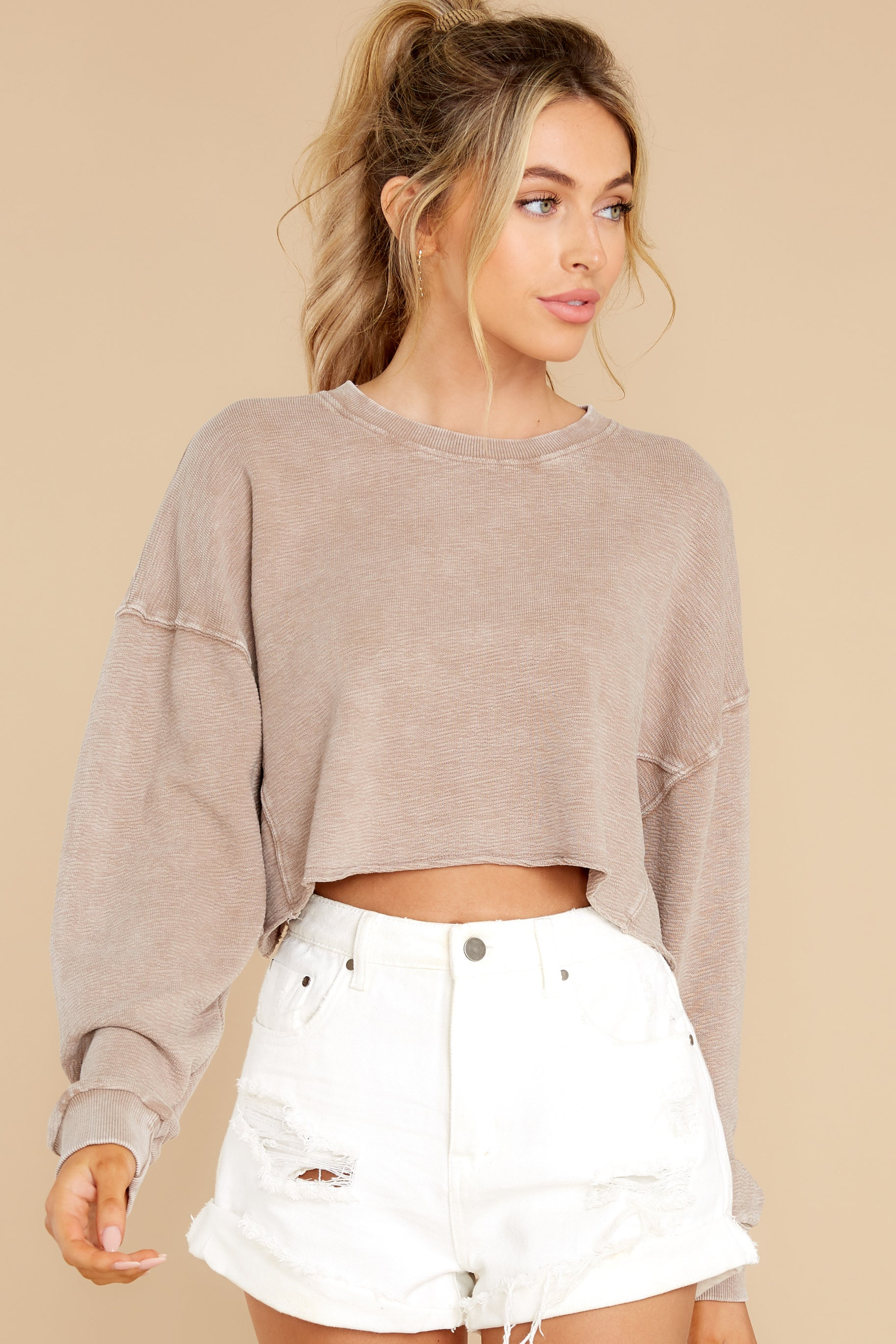 7 Anywhere With You Latte Crop Sweatshirt at reddress.com