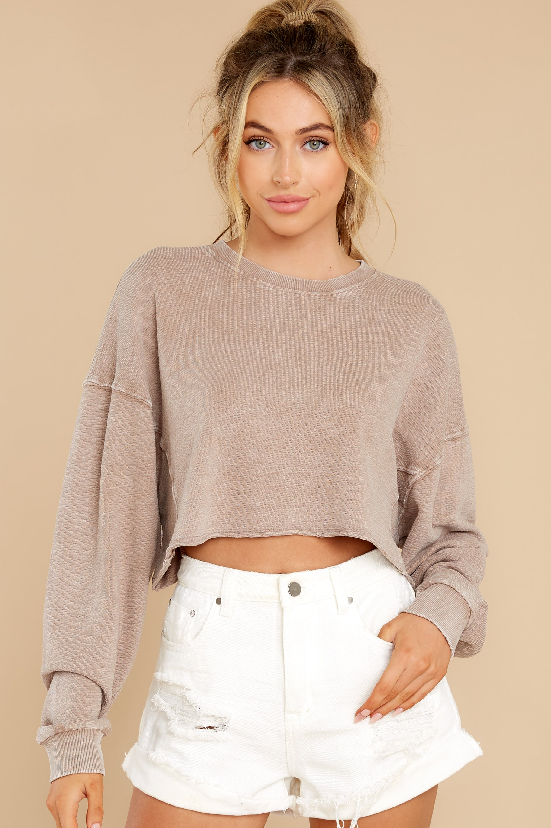 6 Anywhere With You Latte Crop Sweatshirt at reddress.com