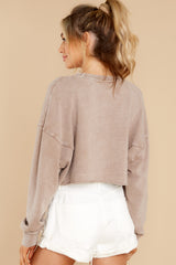8 Anywhere With You Latte Crop Sweatshirt at reddress.com