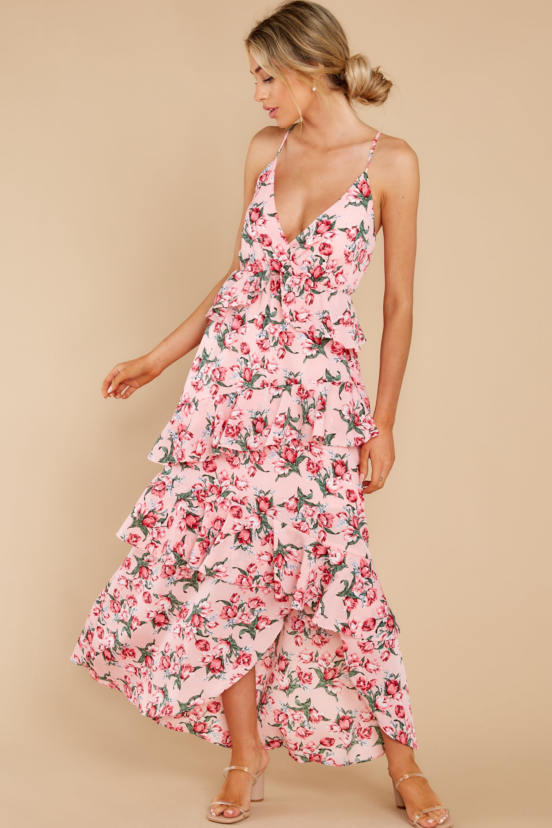 5 Flirtatious Meetings Pink Floral Print High-Low Dress at reddress.com