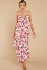 3 Flirtatious Meetings Pink Floral Print High-Low Dress at reddress.com