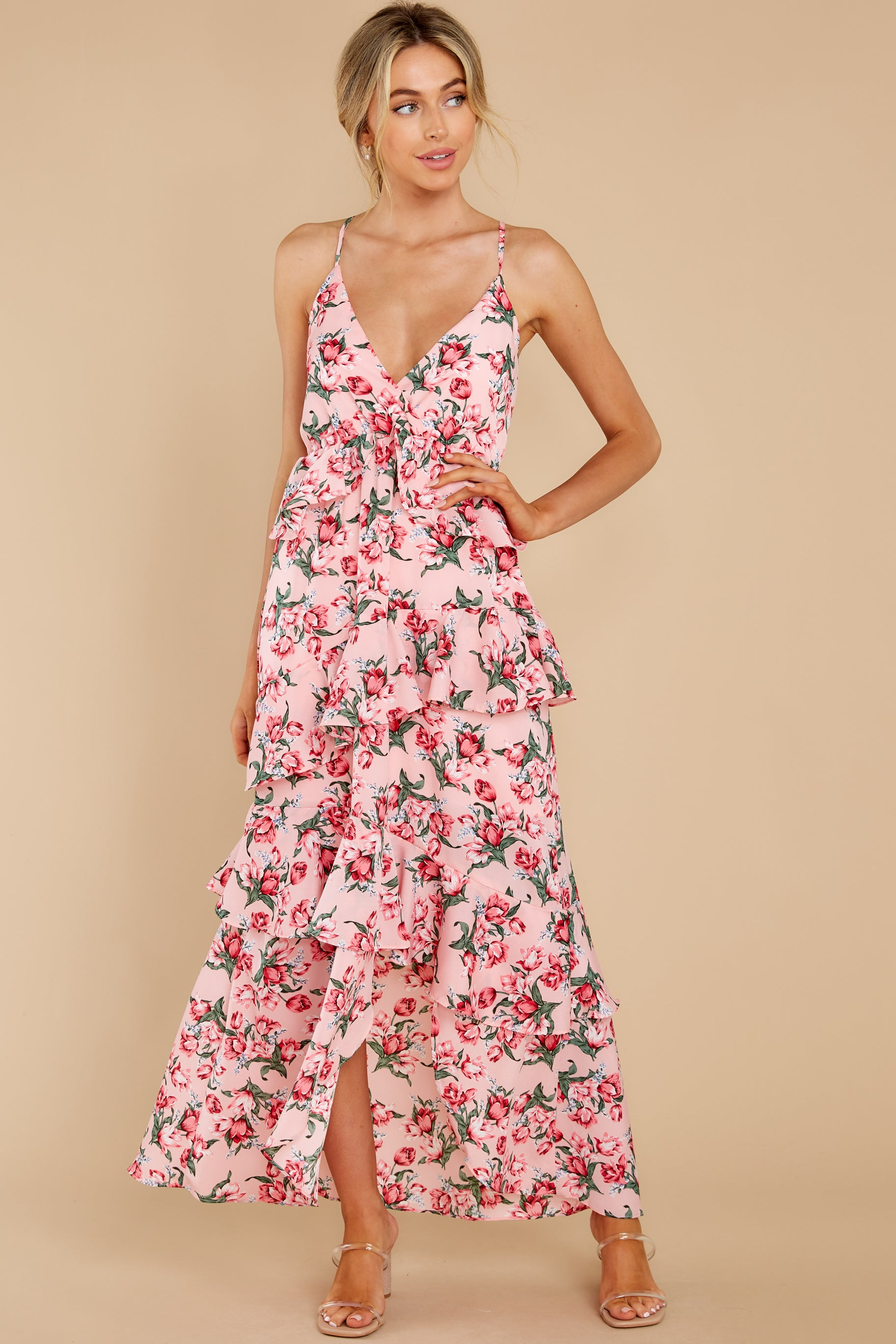 4 Flirtatious Meetings Pink Floral Print High-Low Dress at reddress.com