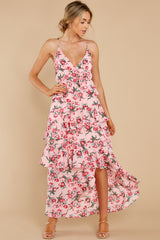 2 Flirtatious Meetings Pink Floral Print High-Low Dress at reddress.com