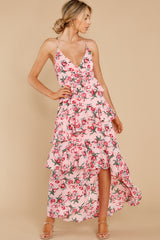 1 Flirtatious Meetings Pink Floral Print High-Low Dress at reddress.com